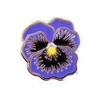 Purple pansy flower enamel lapel pins