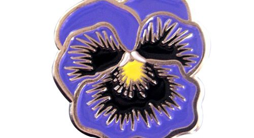 Purple pansy flower enamel lapel pins