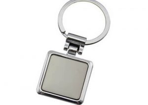 Blank square metal key chain
