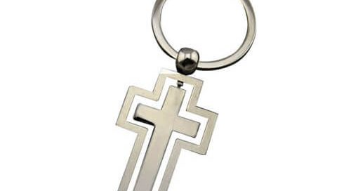 Holy bible souvenir keychain rotary cross