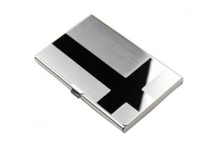 Silver card holder business giveaway