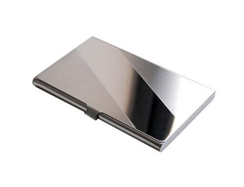 Stainless steel engraved business card holder