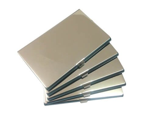 Stainless steel personalized business card holder
