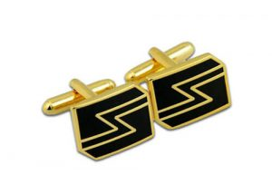 Custom gold wedding cufflink