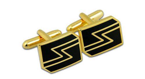 Custom gold wedding cufflink