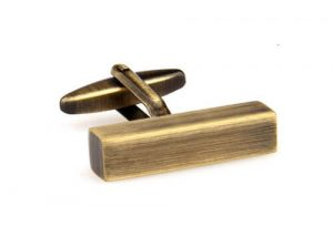 Brushed brass mens cufflinks