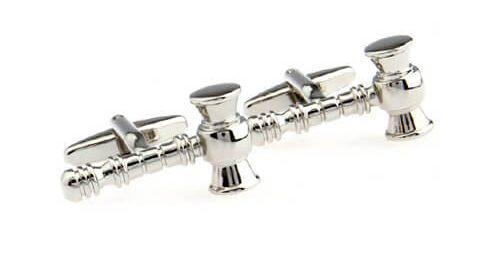 Silver sledge hammer shape cufflinks
