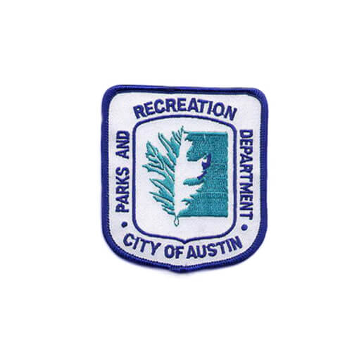 recreation department embroidered patch with merrow border