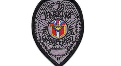 Parking enforcement twill with digitizing letters merrowed border