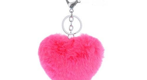 heart shape genuine rabbit fur pom car key hanger