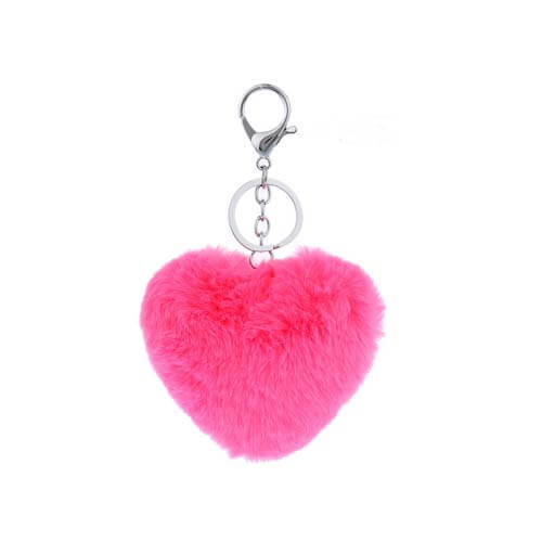 heart shape genuine rabbit fur pom car key accessories