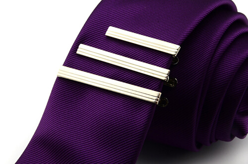 Silver striped tie clips Austrilia