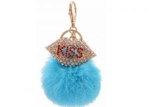 Kiss pom pom bag hanger sexy lip keychain