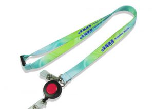 Green retractable lanyard badge holder