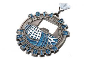 Shinny triathlon bottle opener medal