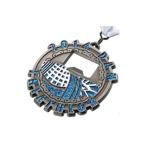 Shinny triathlon bottle opener medal