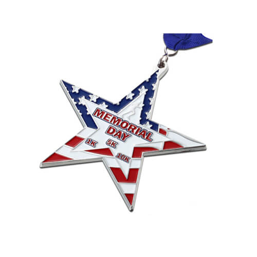 star shape memorial day medal