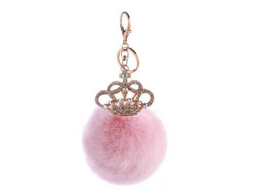Bling crown pom pom key hanger