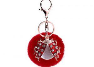 Lady Beetle pom pom keychains