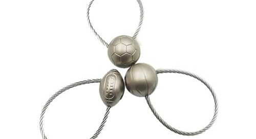 Soccer ball stainless steel keyring