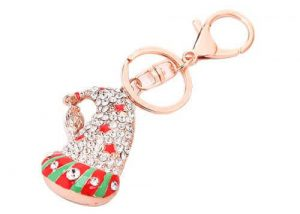 2016 Christmas santa hat rhinestone key ring