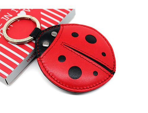 Ladybird beetle keyring leather