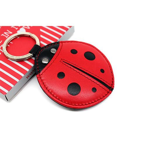 Ladybird beetle keyring leather