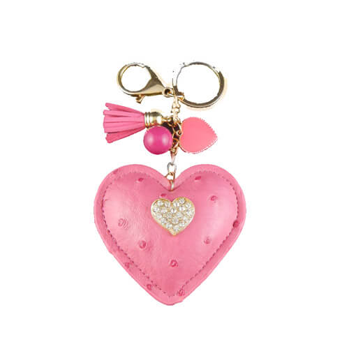 Heart shape leather key ring