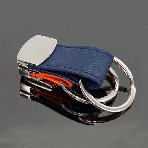 Folding leather key chain