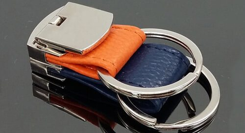 Folding leather key chain