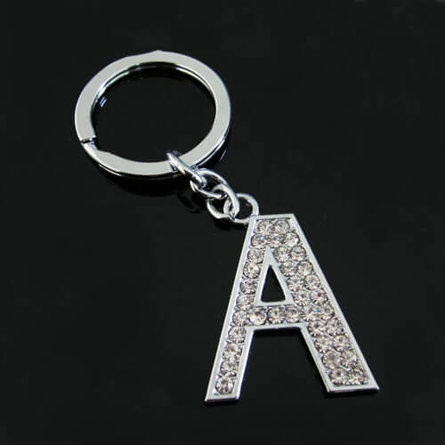 Rhinestone alphabet letter Z keyring