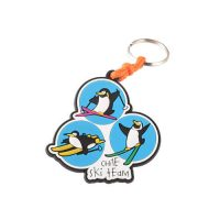 Skiing penguin key ring soft pvc