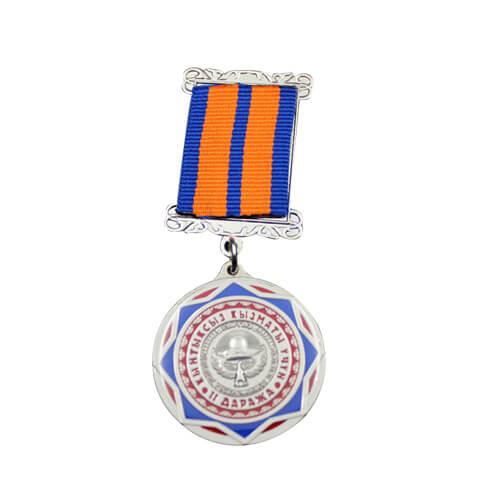 Short ribbon gold medal
