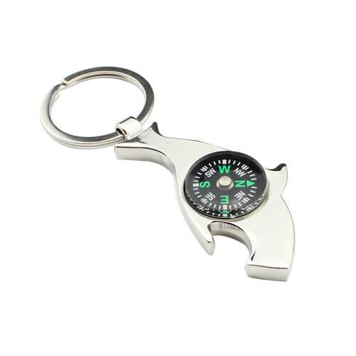 Outdoor survival compass bottle opener keychain