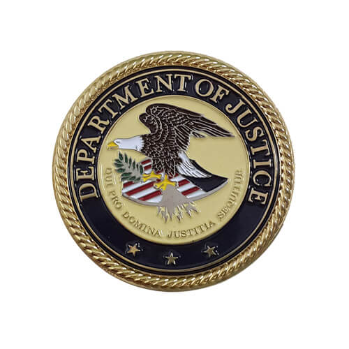 US coin department of justice coin