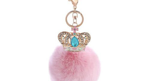 Rhinestone crown pom bag hanger