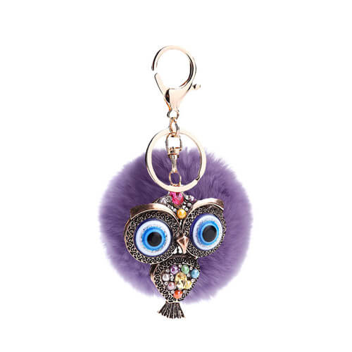 Rabbit fur ball pom pom key chain