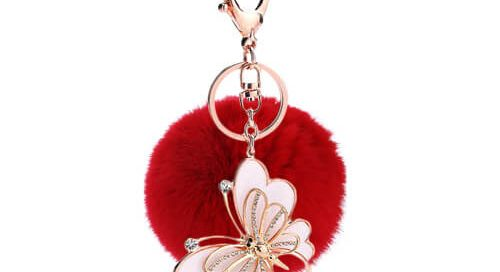 Fluffy faux rabbit fur pom pom keyring