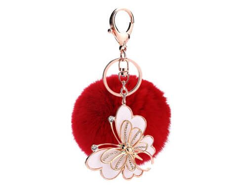 Faux rabbit fur pom pom keyring