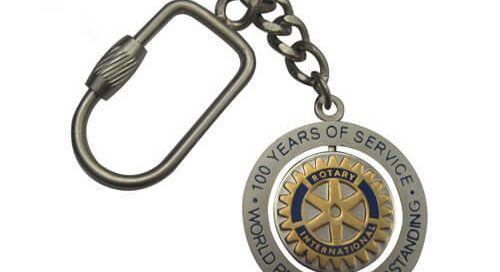 100 years service spinning keychain