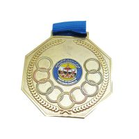 3 inches white gold octagon medal